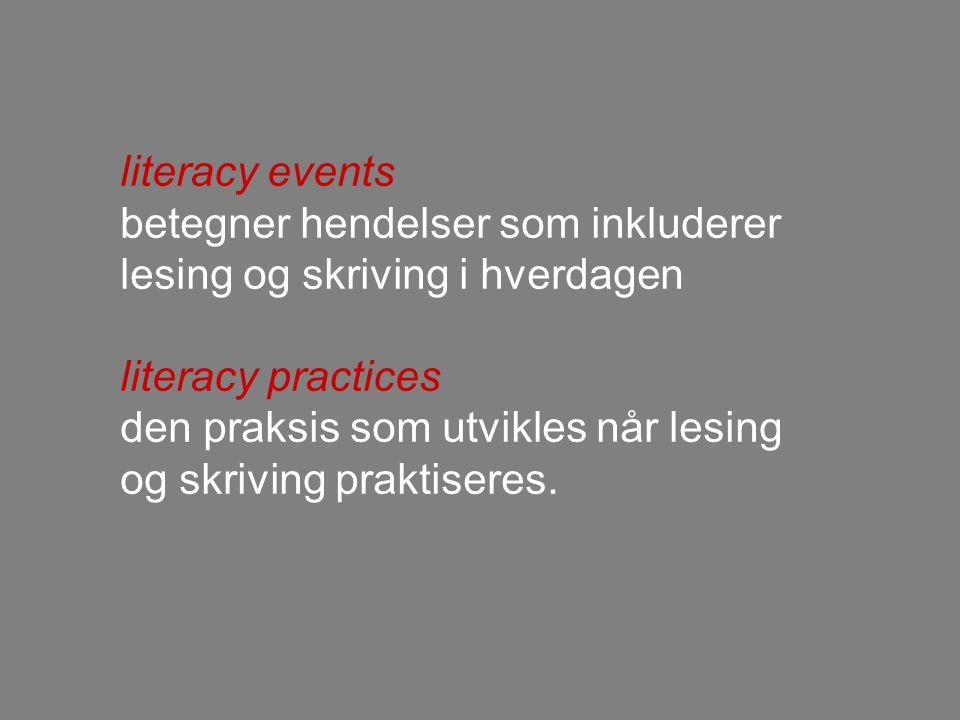 literacy events betegner hendelser som inkluderer lesing og skriving i hverdagen. literacy practices.