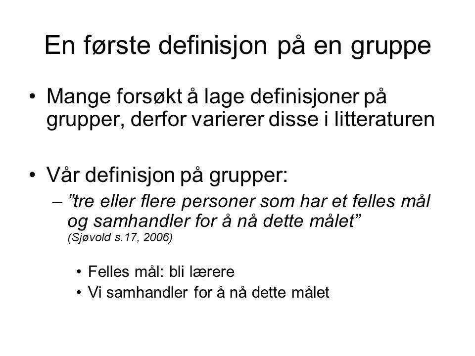 En første definisjon på en gruppe
