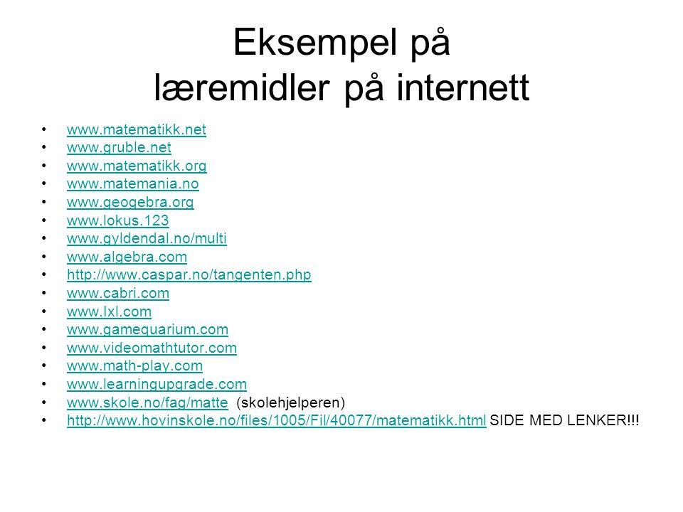 Eksempel på læremidler på internett
