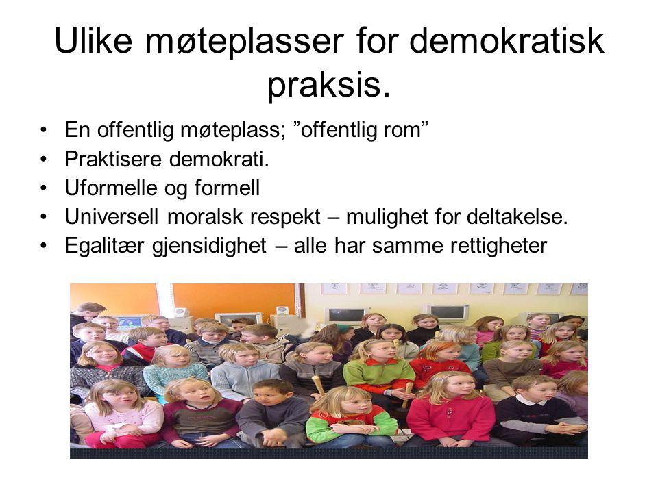 Ulike møteplasser for demokratisk praksis.