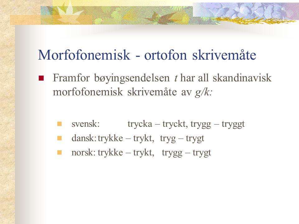 Morfofonemisk - ortofon skrivemåte