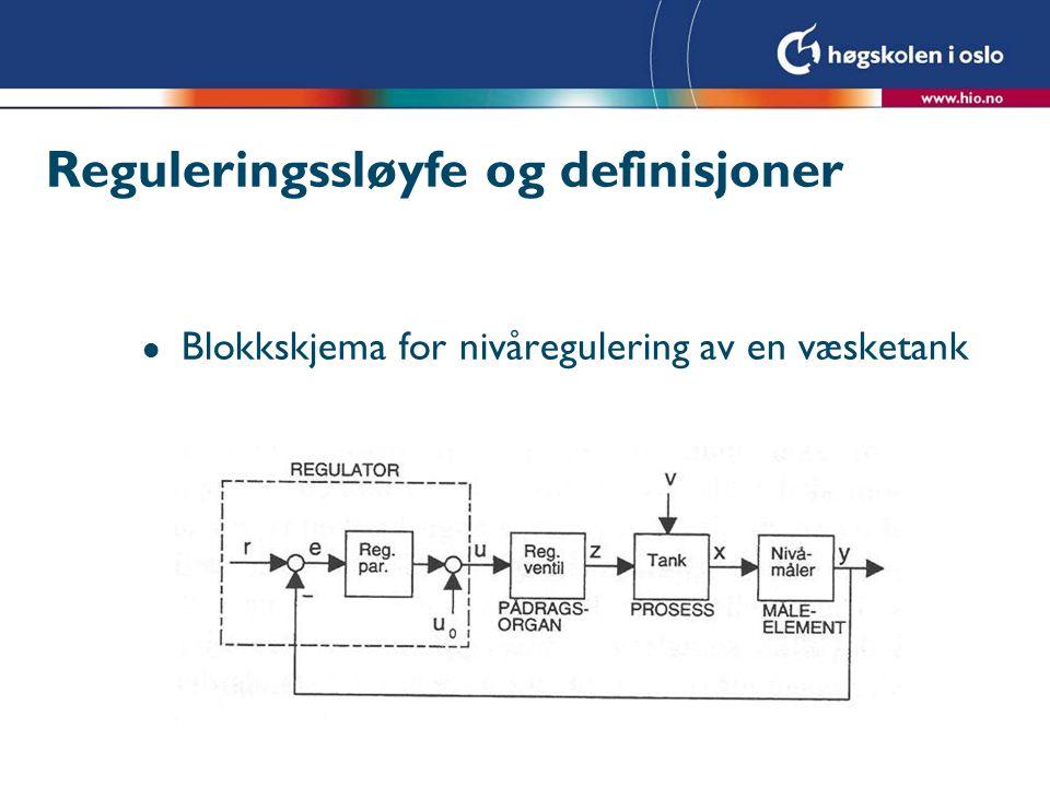 Reguleringssløyfe og definisjoner
