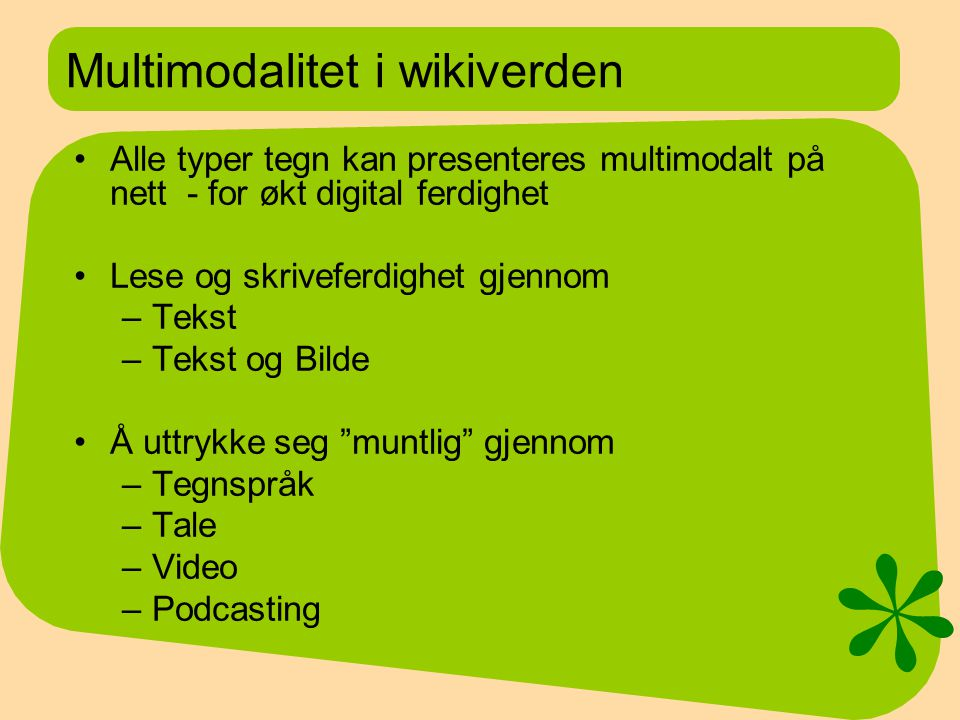 Multimodalitet i wikiverden
