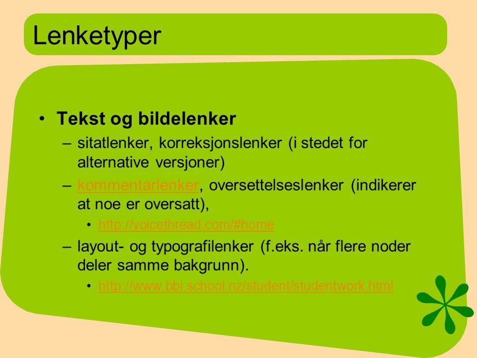 Lenketyper Tekst og bildelenker