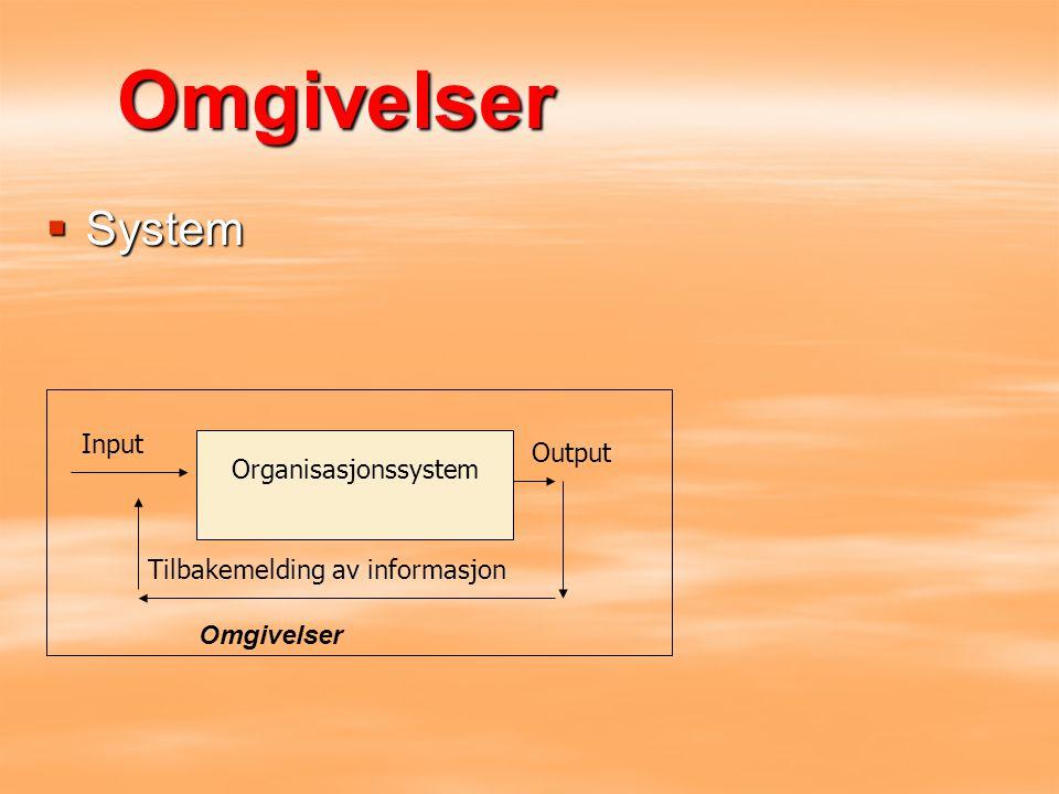 Omgivelser System Input Output Organisasjonssystem