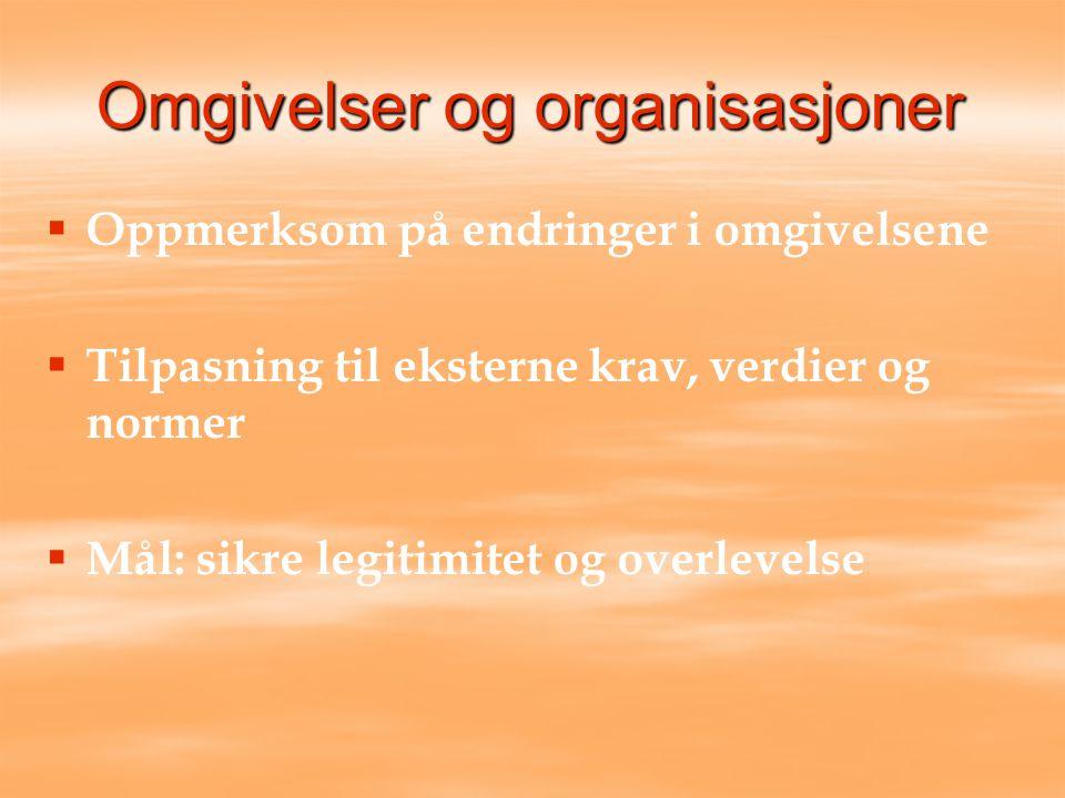 Omgivelser og organisasjoner