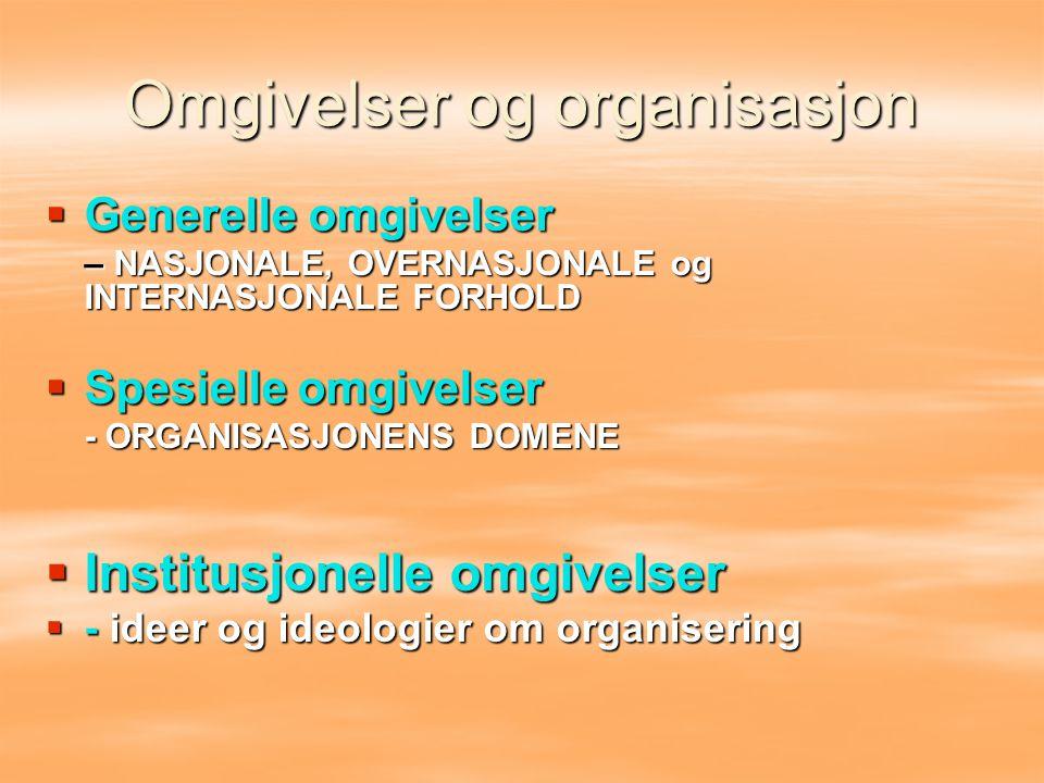 Omgivelser og organisasjon