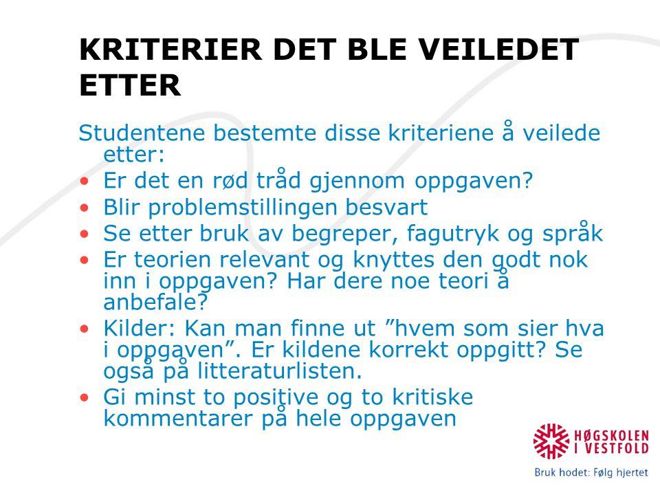 KRITERIER DET BLE VEILEDET ETTER