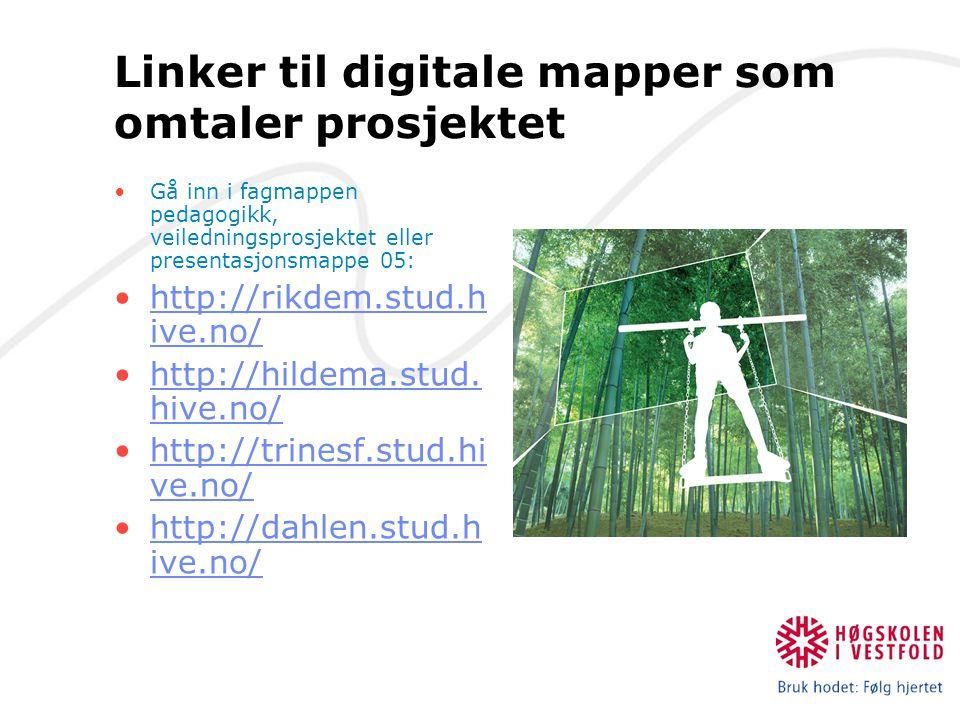 Linker til digitale mapper som omtaler prosjektet