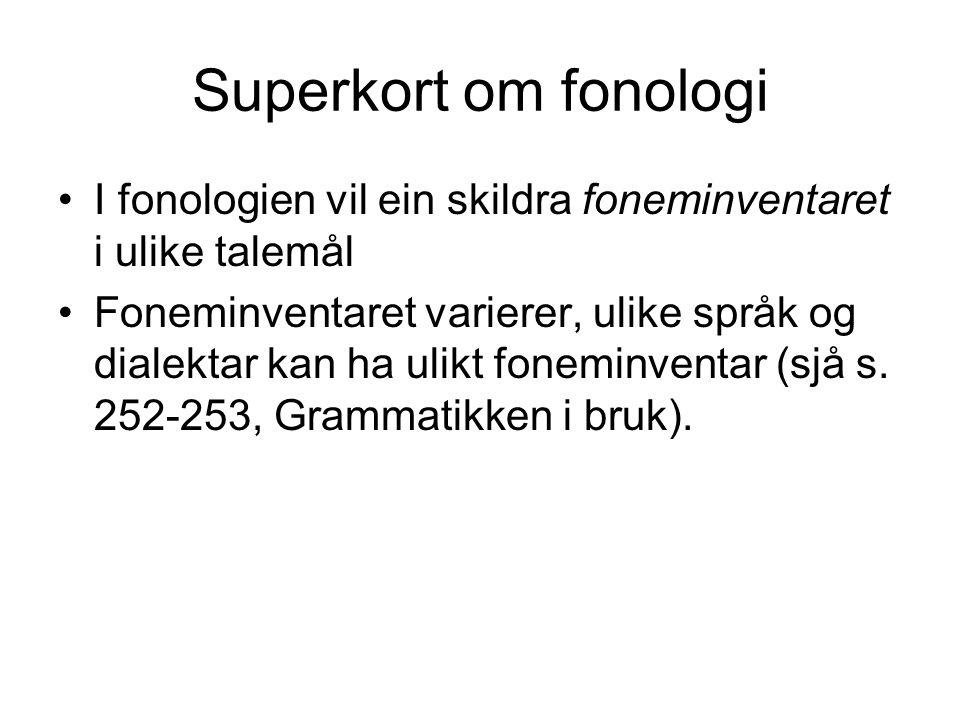 Superkort om fonologi I fonologien vil ein skildra foneminventaret i ulike talemål.