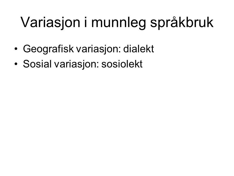 Variasjon i munnleg språkbruk