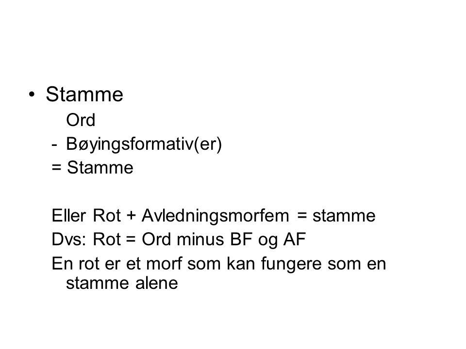Stamme Ord Bøyingsformativ(er) = Stamme