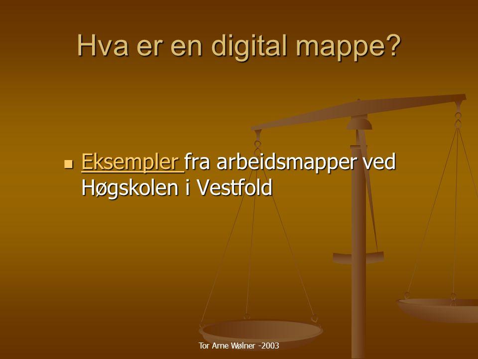 Hva er en digital mappe Eksempler fra arbeidsmapper ved Høgskolen i Vestfold.
