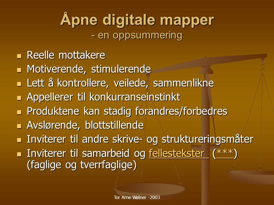 Åpne digitale mapper - en oppsummering