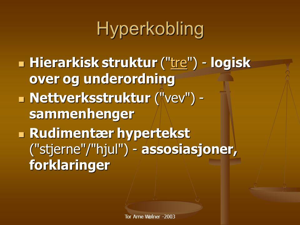 Hyperkobling Hierarkisk struktur ( tre ) - logisk over og underordning