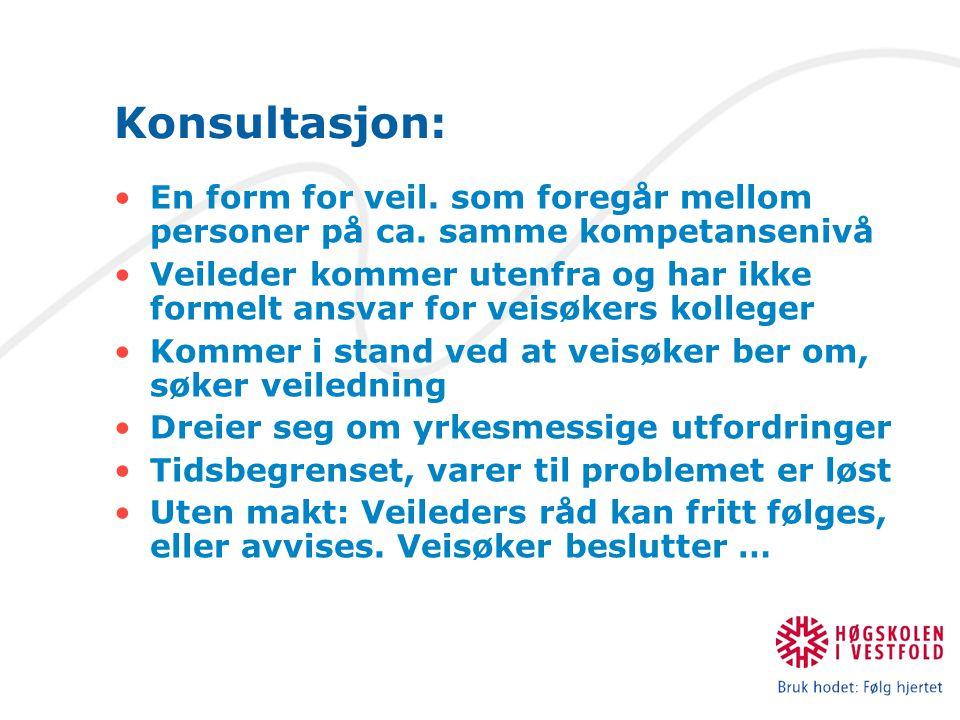 Konsultasjon: En form for veil. som foregår mellom personer på ca. samme kompetansenivå.