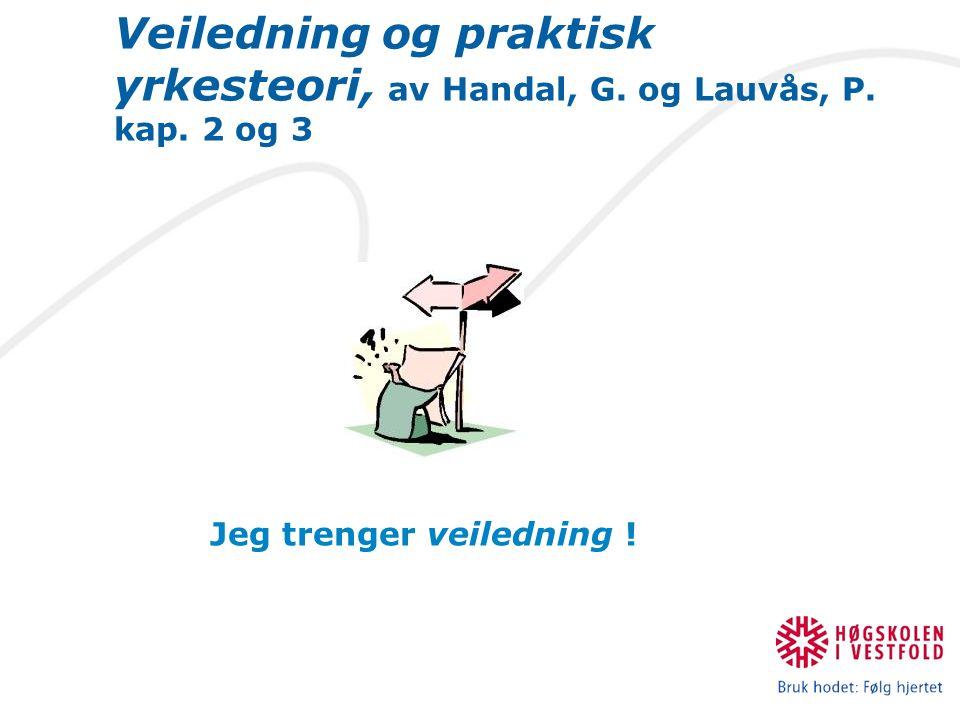 Veiledning og praktisk yrkesteori, av Handal, G. og Lauvås, P. kap