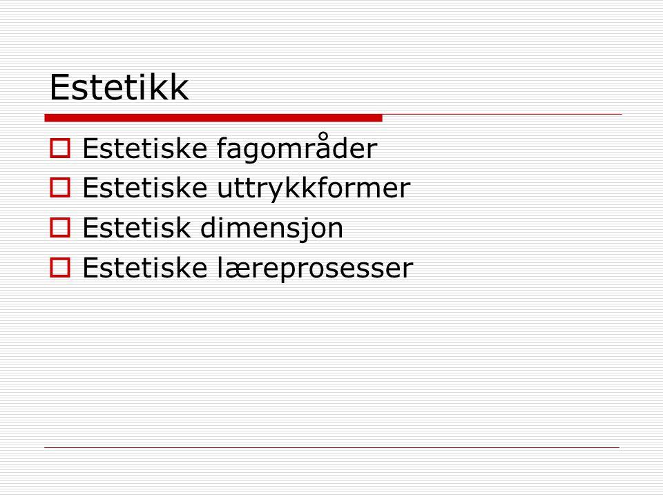 Estetikk Estetiske fagområder Estetiske uttrykkformer