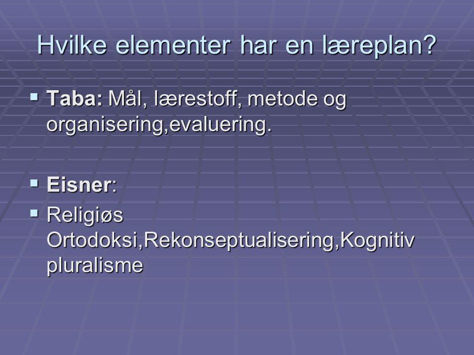 Hvilke elementer har en læreplan
