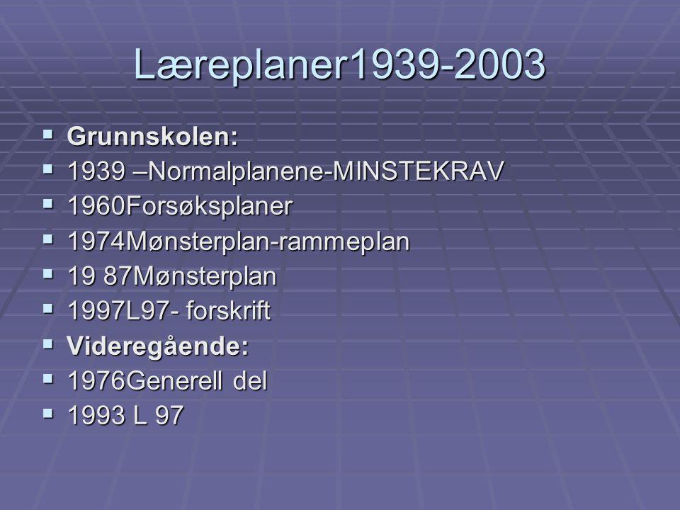 Læreplaner1939-2003 Grunnskolen: 1939 –Normalplanene-MINSTEKRAV