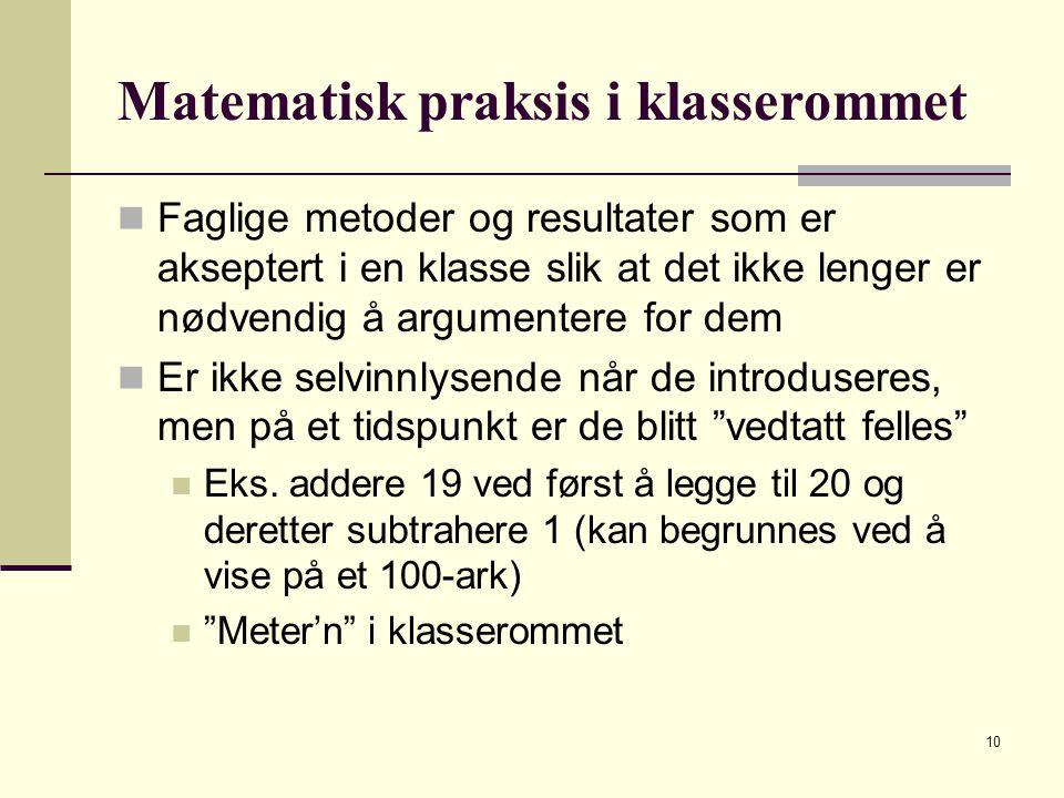 Matematisk praksis i klasserommet