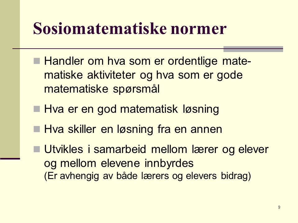 Sosiomatematiske normer