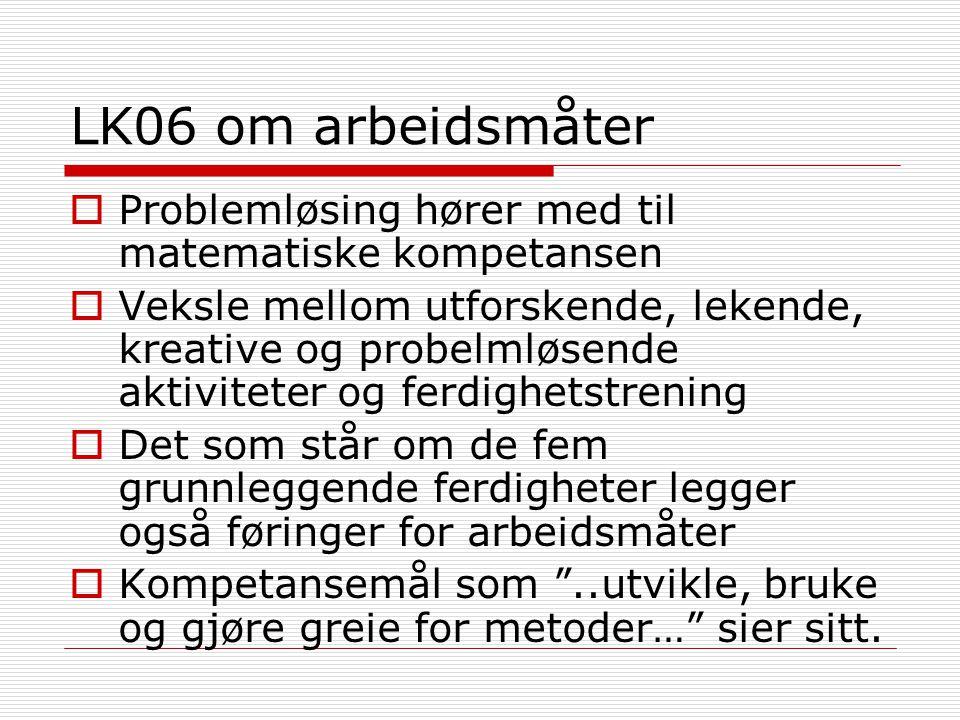 LK06 om arbeidsmåter Problemløsing hører med til matematiske kompetansen.