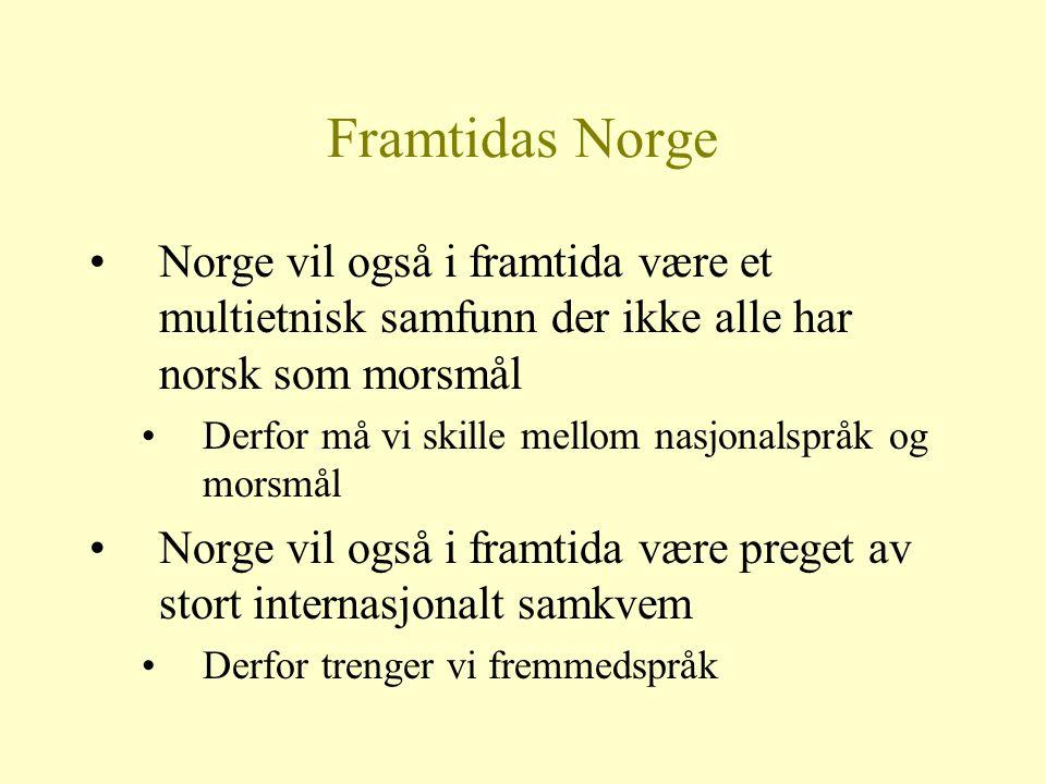 Framtidas Norge Norge vil også i framtida være et multietnisk samfunn der ikke alle har norsk som morsmål.