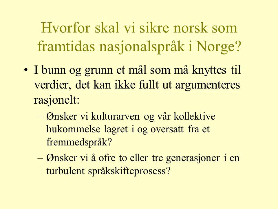 Hvorfor skal vi sikre norsk som framtidas nasjonalspråk i Norge