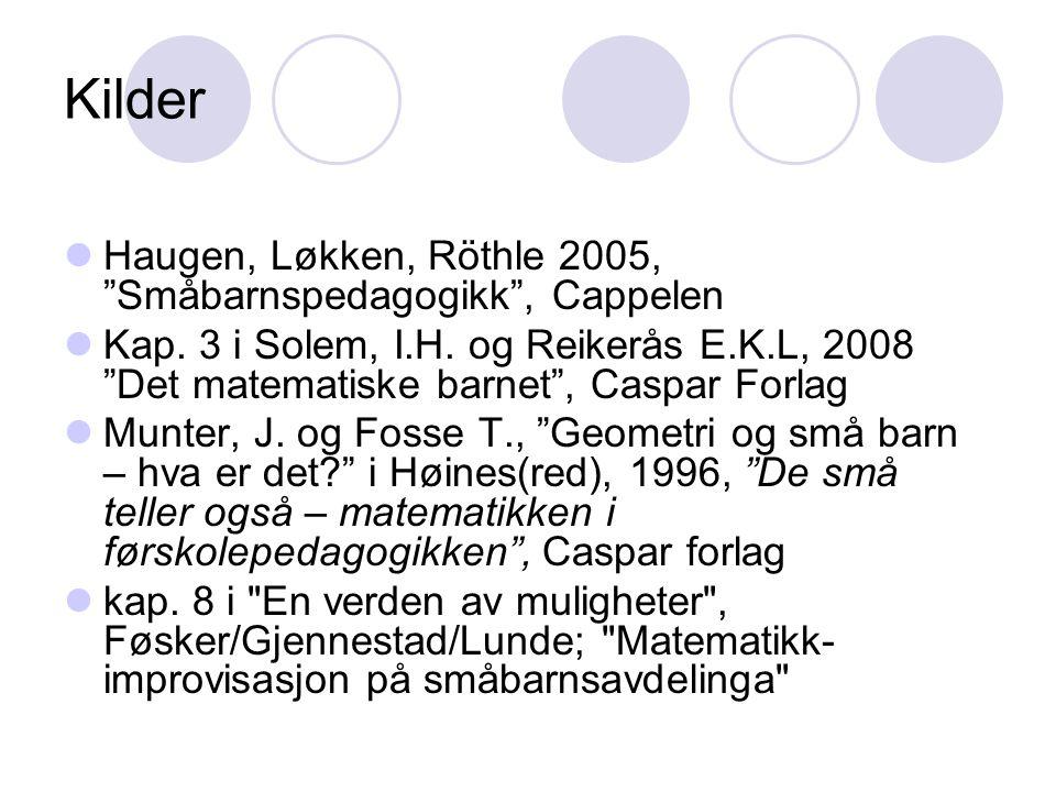 Kilder Haugen, Løkken, Röthle 2005, Småbarnspedagogikk , Cappelen