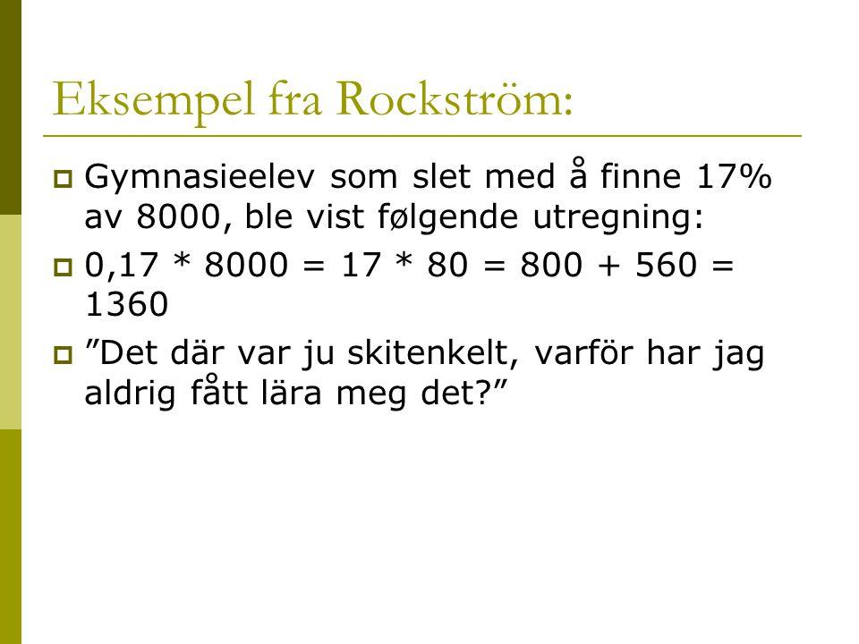 Eksempel fra Rockström: