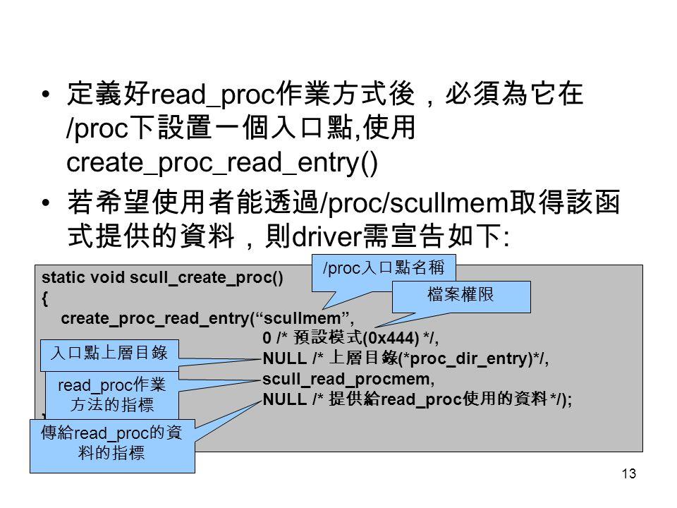 定義好read_proc作業方式後,必須為它在/proc下設置一個入口點,使用create_proc_read_entry()
