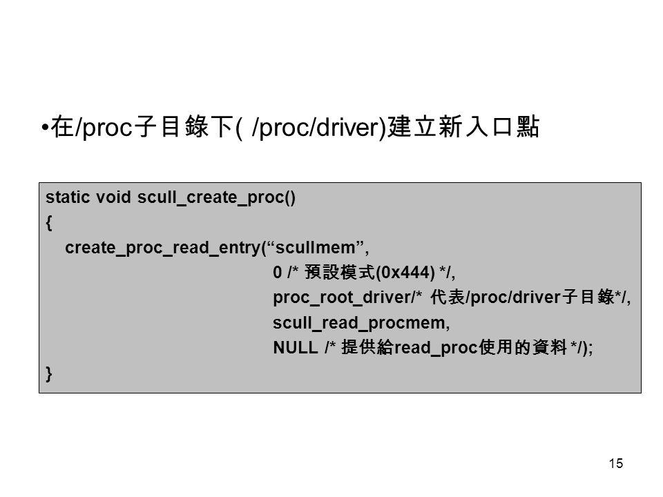 •在/proc子目錄下( /proc/driver)建立新入口點