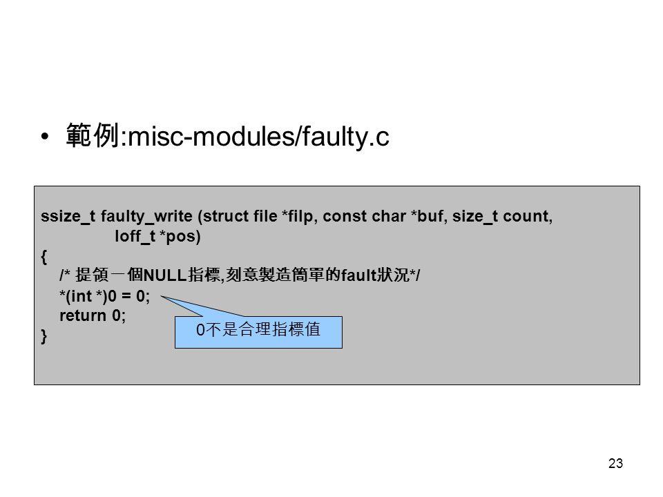 範例:misc-modules/faulty.c