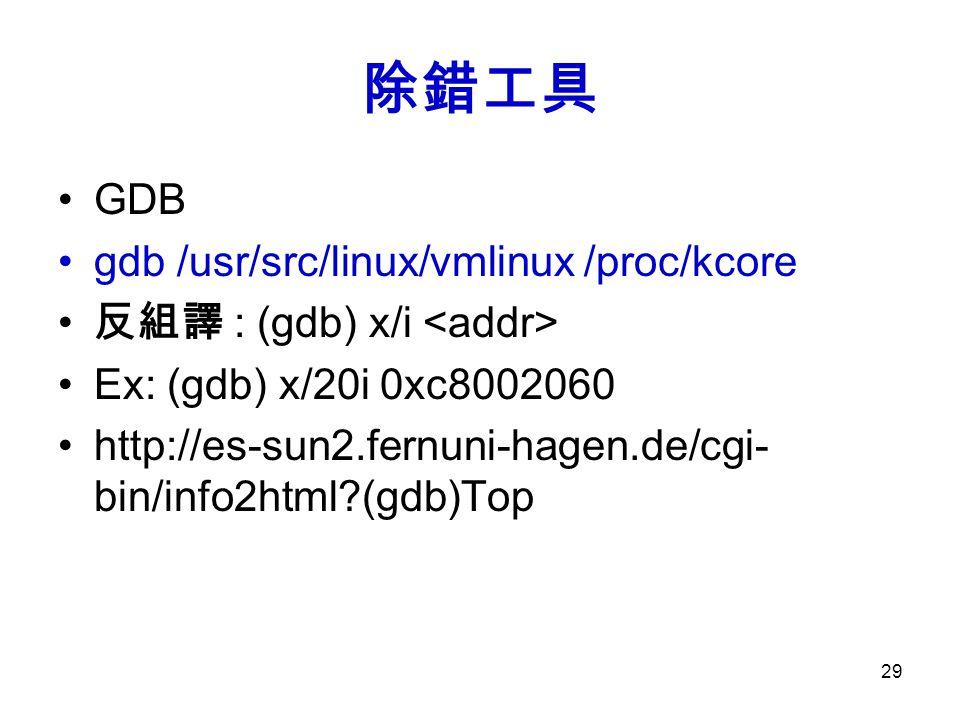 除錯工具 GDB gdb /usr/src/linux/vmlinux /proc/kcore