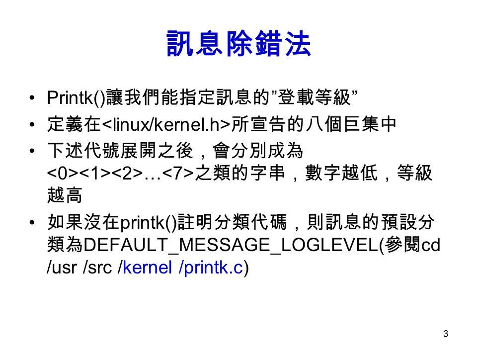 訊息除錯法 Printk()讓我們能指定訊息的 登載等級 定義在<linux/kernel.h>所宣告的八個巨集中