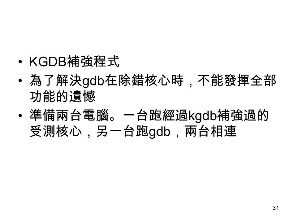 KGDB補強程式 為了解決gdb在除錯核心時,不能發揮全部功能的遺憾 準備兩台電腦。一台跑經過kgdb補強過的受測核心,另一台跑gdb,兩台相連