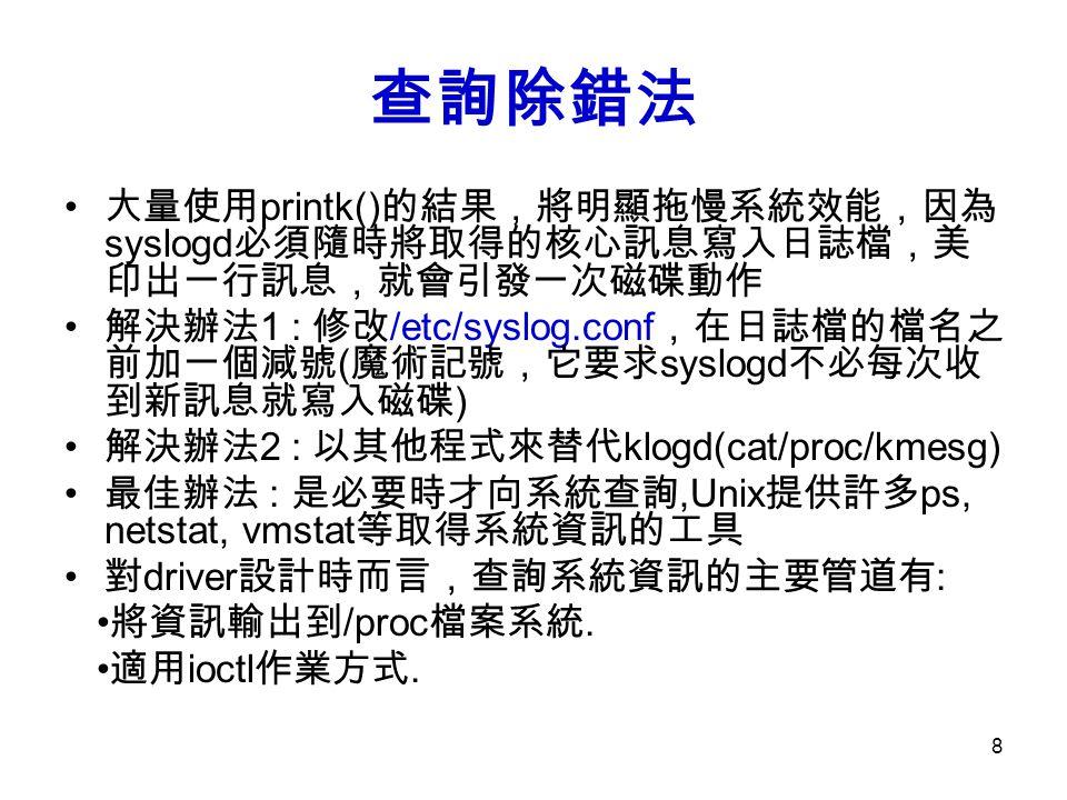 查詢除錯法 大量使用printk()的結果,將明顯拖慢系統效能,因為syslogd必須隨時將取得的核心訊息寫入日誌檔,美印出一行訊息,就會引發一次磁碟動作.