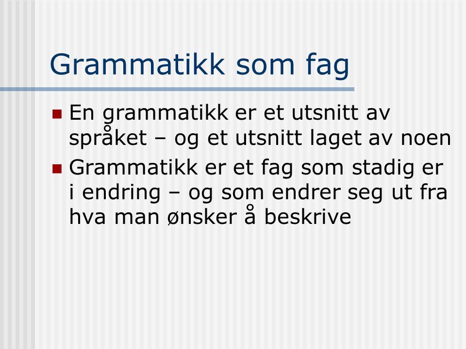 Grammatikk som fag En grammatikk er et utsnitt av språket – og et utsnitt laget av noen.