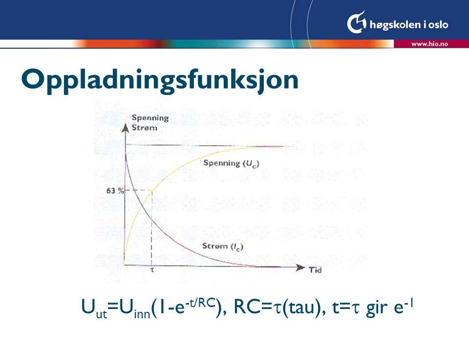 Oppladningsfunksjon Uut=Uinn(1-e-t/RC), RC=(tau), t= gir e-1