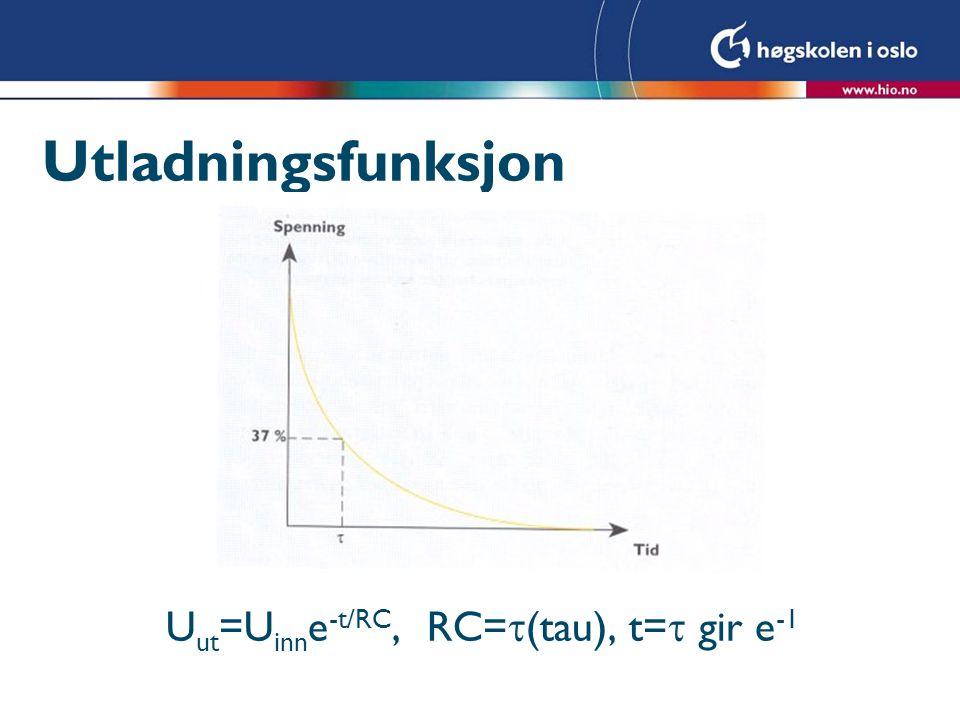 Utladningsfunksjon Uut=Uinne-t/RC, RC=(tau), t= gir e-1