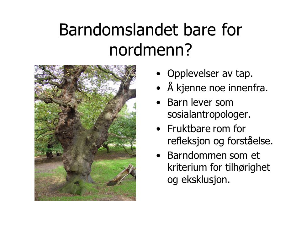 Barndomslandet bare for nordmenn