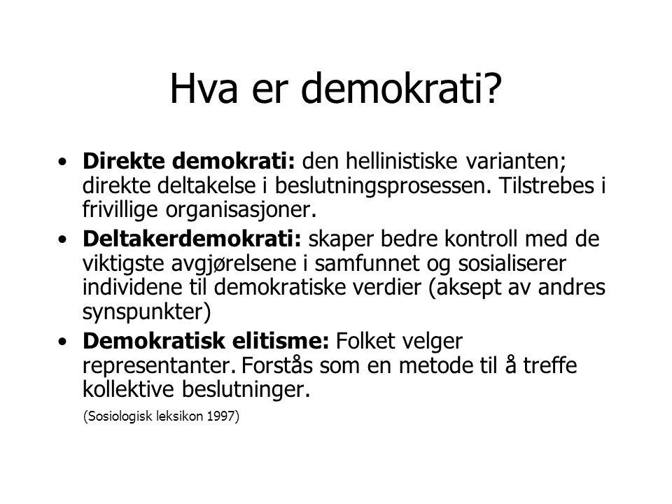 Hva er demokrati Direkte demokrati: den hellinistiske varianten; direkte deltakelse i beslutningsprosessen. Tilstrebes i frivillige organisasjoner.