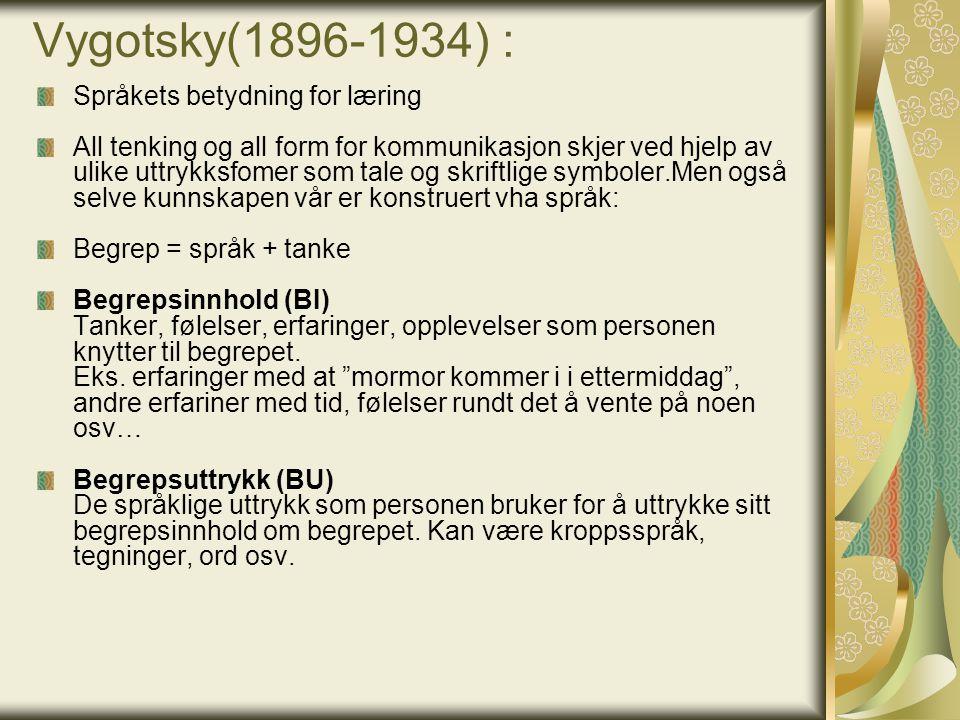 Vygotsky(1896-1934) : Språkets betydning for læring