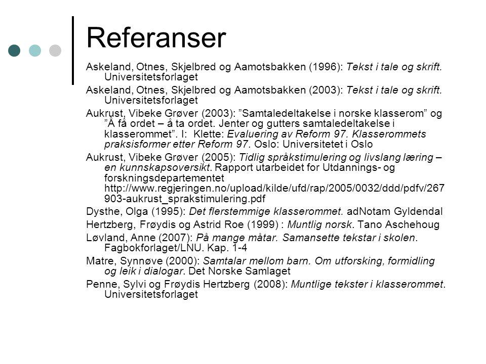 Referanser Askeland, Otnes, Skjelbred og Aamotsbakken (1996): Tekst i tale og skrift. Universitetsforlaget.