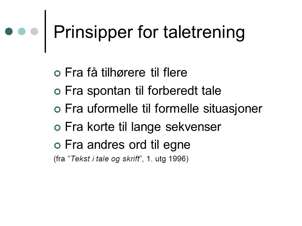 Prinsipper for taletrening