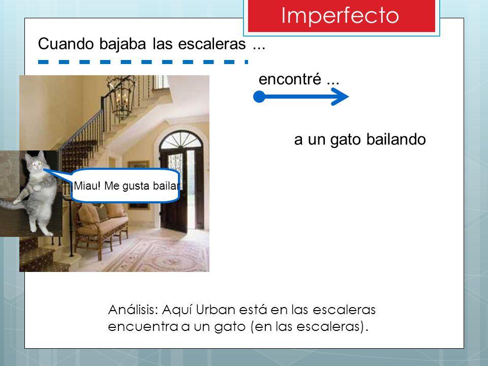 Imperfecto Cuando bajaba las escaleras ... encontré ...