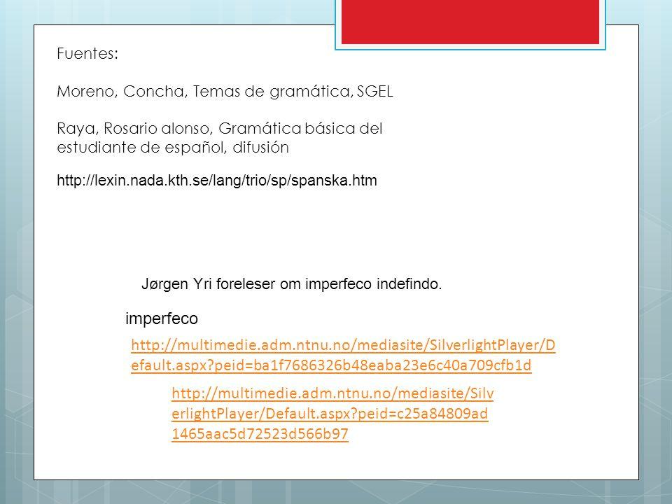 Fuentes: Moreno, Concha, Temas de gramática, SGEL. Raya, Rosario alonso, Gramática básica del estudiante de español, difusión.