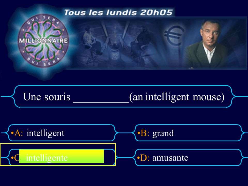 Une souris __________(an intelligent mouse)