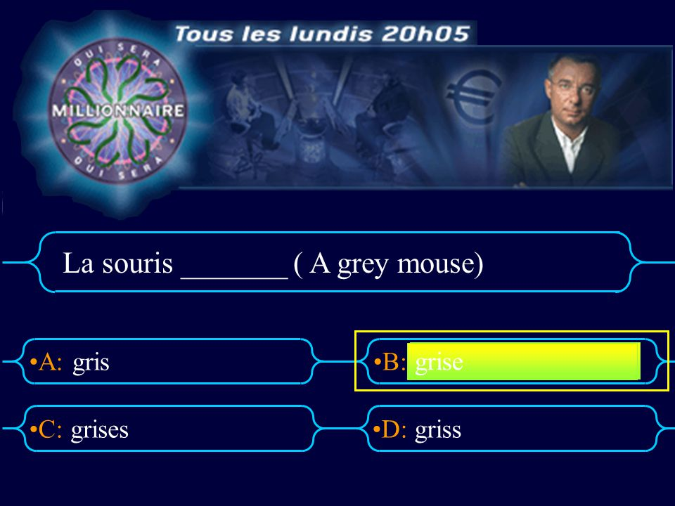 La souris _______ ( A grey mouse)